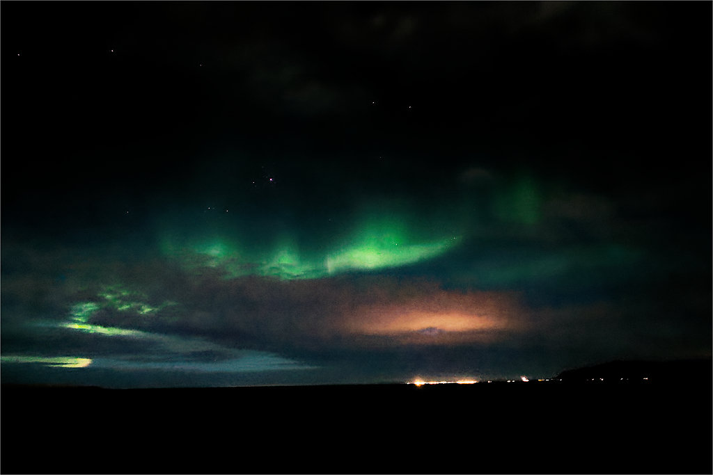 Nothern lights -- Off the coast of Reykjavik